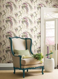 Lovebirds Wallpaper in Purple and Cream design by Carey Lind for York Wallcoverings