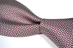"ERMENEGILDO ZEGNA Recent Pink White Black WOVEN 100% Silk Mens Tie  - 3.625"" #ErmenegildoZegna #NeckTie"