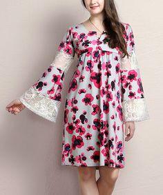 Look at this #zulilyfind! Gray Floral Notch Neck Empire-Waist Lace Bell-Sleeve Dress - Plus #zulilyfinds