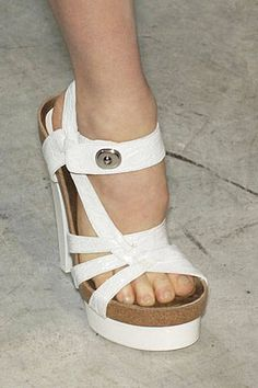 "Balenciaga Spring 2007 - white croc ""Birkenstock"" heels"