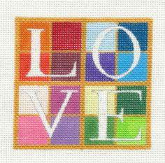 "Raymond Crawford ""Love"" Wedding or Anniversary Handpainted Needlepoint Canvas | eBay $48"