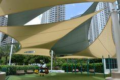 tension sails used to shade Brickell Key Playground