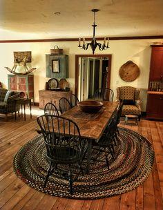 Dining room – Home Decor Designs Primitive Homes, Primitive Dining Rooms, Country Dining Rooms, Primitive Country, Primitive Kitchen, Fall Home Decor, Cheap Home Decor, French Country Decorating, Cozy House