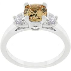 Kate Bissett tone and Champagne CZ Triplet Ring