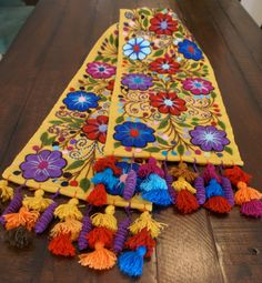 Table Runner Yellow ochre embroidered flowers Sheep and alpaca wool  handmade Peru boho-chic bohemian eclectic embroidery peruvian style