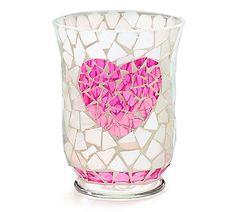 New White Pink Heart Glass Mosaic Hurricane Candleholder Table Centerpiece #burtonBURTON