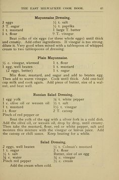 The East Milwaukee cook-book Retro Recipes, Old Recipes, Vintage Recipes, Cooking Recipes, Dinner Recipes, Great Salad Recipes, Salad Dressing Recipes, Salad Dressings, Depression Era Recipes