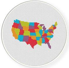 FREE Colorful USA Map Cross Stitch Pattern