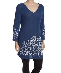 Another great find on #zulily! Blue & White Branch V-Neck Tunic - Plus #zulilyfinds