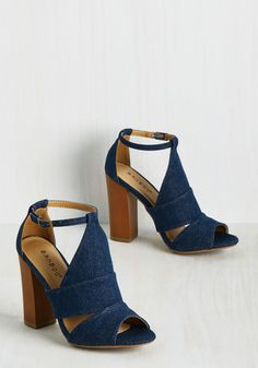 A weekend in the city means a supremely packed social calendar. Good thing these denim heels go with Ankle Strap Heels, Pumps Heels, Blue Pumps, Ankle Straps, Shoes Sandals, High Heels, Cute Shoes, Me Too Shoes, Heeled Boots