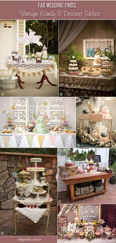 Vintage candy tables using lace, doilies, ruffles for garden wedding receptions. #gardenweddings #gardenweddingideas #vintagegardenweddings