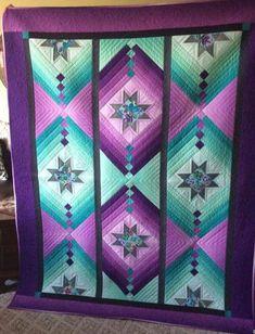 Star Quilt Blocks, Star Quilt Patterns, Strip Quilts, Panel Quilts, Colchas Quilting, Machine Quilting, Quilting Projects, Quilting Designs, Quilting Tutorials