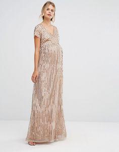 f9ab23ce825 Maya Maternity All Over Embellished Cap Sleeve Maxi Dress