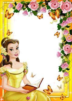 Bday Princess Birthday, Princess Party, Girl Birthday, Happy Birthday Frame, Birthday Frames, Beauty And The Beast Party, Belle Beauty And The Beast, Frames Png, Disney Frames