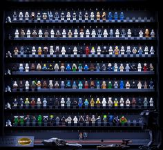 Check out these LEGO storage and display solutions for your LEGO minifigures! Display and protect your LEGO minifigures with style! Lego Display Shelf, Lego Minifigure Display, Lego Minifigs, Star Wars Minifigures, Display Case, Lego Star Wars, Display Ideas, Mega Blocks, Lego Man