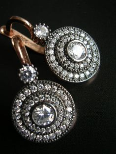 MAIA  EARRING antique diamond inspired zirconia by FIGistanbul, $65.00