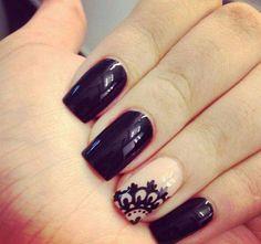 black, nails, lace