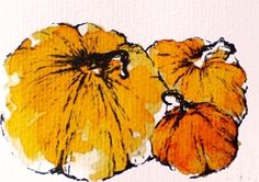 Pumpkins 2  original Halloween watercolor ACEO  by Natureandart, $15.00