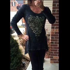 Top Charcoal top with Blingy rhinestones. Very comfy. 100% cotton. Has stretch to the material. Bought from a boutique shop. Excellent condition. Worn once. boutique/vocal Tops