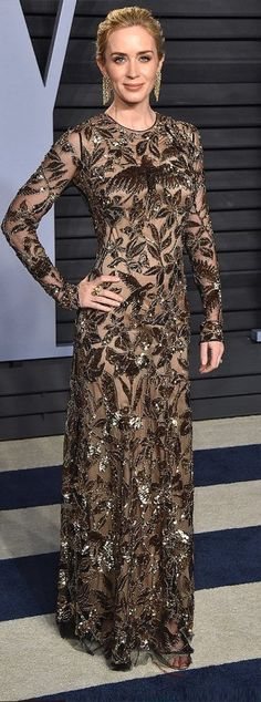 Oscars 2018 Afterparty Dresses and Preparty Dresses - Emily Blunt in Alexander McQueen