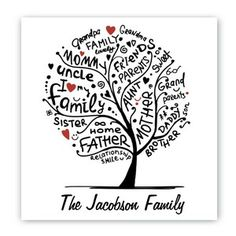 Family Roots Tree Canvas Sign Wall Art