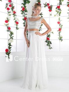 Two-Piece Sheath Long High Neck Sleeveless Chiffon Illusion Dress With Beading