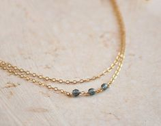 gold and blue double strand necklace, $26 etsy.com