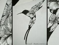 эскиз татуировки птица колибри цветы графика linework blackwork