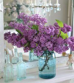Ball Jars, Blue Mason Jars, Lilacs And Blue, Blue Glasses, Wedding Flower Arrangements, Mason Jar Weddings, Wedding Flowers, Centerpieces, Jars Inspiration