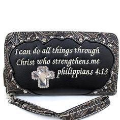 Rhinestone Cross w/ Bible Verse Wristlet Wallet