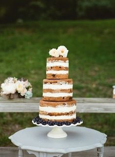 Naked Wedding cake {Photo by Alea Lovely Photography via Project Wedding} by clarissa