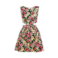 Floral cut out dress Spring Fashion Floral Prints ❤ liked on Polyvore featuring dresses and short dresses