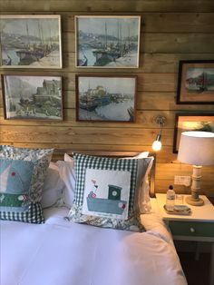 room 11...a feature wall made with rough sawn treated pine...a log cabin feel to it..