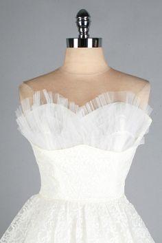 Vintage 1950s Dress . White Lace . Tulle . Full Skirt . Strapless . XS . 2453. $245.00, via Etsy.
