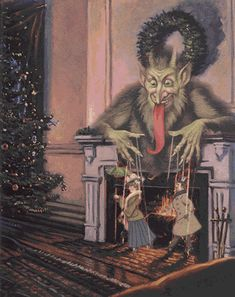 Krampus is also a talented puppeteer - who knew? Anti Santa, Bad Santa, Dark Christmas, Very Scary, Illustrations, Vintage Holiday, Macabre, Yule, Devil