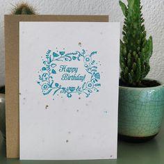 #happybirthday #groeipapier #letterpress #card #design #bloemen #kaart #homemade #growingpaper Kaart ontworpen em gedrukt door Studio WAM