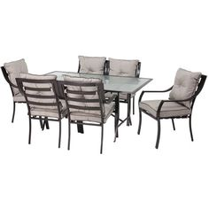 The Red Barrel Studio Bog Water 7-Piece Outdoor Dining Set includes a glass topped table and six comfortable chairs, complete with cushions. This set was ...