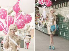 You can't really go wrong with this dress!  Love the fun polka dots on the balloons and the pops of teal... (found on the glitter guide)