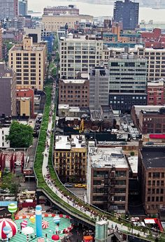 NYC: The High Line, an elevated park in the sky built on top of the tracks of a disused railway, weaves its way through the city blocks.