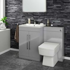 Buy the Vellamo Aspire 2 Door Combination Basin & Toilet Unit - Gloss Grey at Tap Warehouse and add a modern twist to your bathroom! Toilet And Basin Unit, Basin Vanity Unit, Bathroom Vanity Units, Grey Bathroom Furniture, Compact Bathroom, Small Bathroom, Bathroom Ideas, Cloakroom Ideas, Downstairs Bathroom