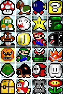 The Recipe Bunny: Super Mario Quilt, this girl has a few different blocks that would go well with the super mario 1 quilt. Perler Bead Designs, Pearler Bead Patterns, Perler Patterns, Loom Patterns, Beading Patterns, Quilt Patterns, Knitting Patterns, Crochet Patterns, Perler Beads