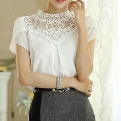 c7a6e70bc3c Short Blusa 2015 Summer Women Tops New Korean Blouses Chiffon Shirt  Stitching Lace Work Blouse S0384