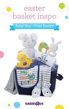 Looking for fun Easter basket ideas? Make your baby boy's first Easter the best with the cutest bodysuit, pants and bib, and some rattles to keep him amused. Don't forget a huggable plush bunny and soft, cozy blanket he's sure to love!