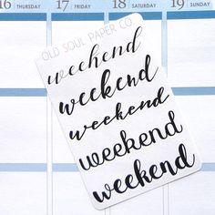 Neutral Script Weekend Banner Planner Stickers Minimalist