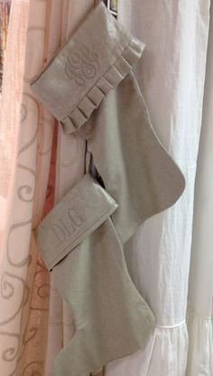 Metallic Flax Linen Christmas Stocking  Monogrammed by ldlinens, $79.00