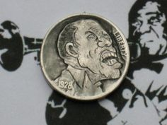 Joe Gallagher - Louis Armstrong Hobo Nickel, Louis Armstrong, Hand Carved, Coins, Carving, Famous People, Buffalo, Jazz, Portraits