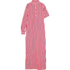 Balenciaga Striped cotton-poplin maxi dress ($1,075) ❤ liked on Polyvore featuring dresses, red, long sleeve dress, maxi dress, asymmetrical maxi dress, striped maxi dress and striped dresses