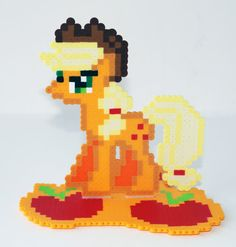 Perler Bead My Little Pony Friendship is Magic Applejack with Cutie Mark Stand by NerdyNoodleLabs