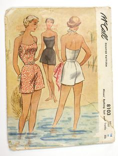McCall 8103 : Misses' Bathing Suit and Trunks || 1950. Please! I would love to make one!