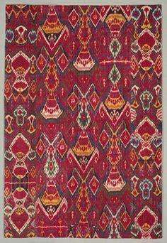 Silk ikat wall hanging, Bukhara, Uzbekistan, The Cleveland Museum of Art Art Textile, Textile Prints, Textile Design, Tribal Patterns, Textile Patterns, Suzani Fabric, Ikat Pattern, Pattern Design, Rugs